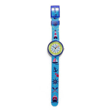 Load image into Gallery viewer, Kids Time Teaching Boy's Watch (Jolly Marine).  Easy to read and teach time telling. Cute design perfect for gift and birthdays.  Tell Time Fun.  Learn to Tell Time.