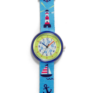 Kids Time Teaching Boy's Watch (Jolly Marine).  Easy to read and teach time telling. Cute design perfect for gift and birthdays.  Tell Time Fun.  Learn to Tell Time.