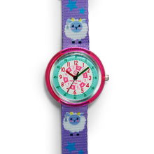 Load image into Gallery viewer, Kids Time Teaching Girl's Watch (Sassy Sheep).  Easy to read and teach time telling. Cute design perfect for gift and birthdays.  Tell Time Fun.  Learn to Tell Time.