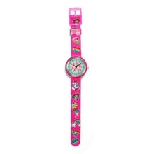 Load image into Gallery viewer, Kids Time Teaching Girl's Watch (Magical Unicorn and Emojis).  Easy to read and teach time telling. Cute design perfect for gift and birthdays.  Tell Time Fun.  Learn to Tell Time.