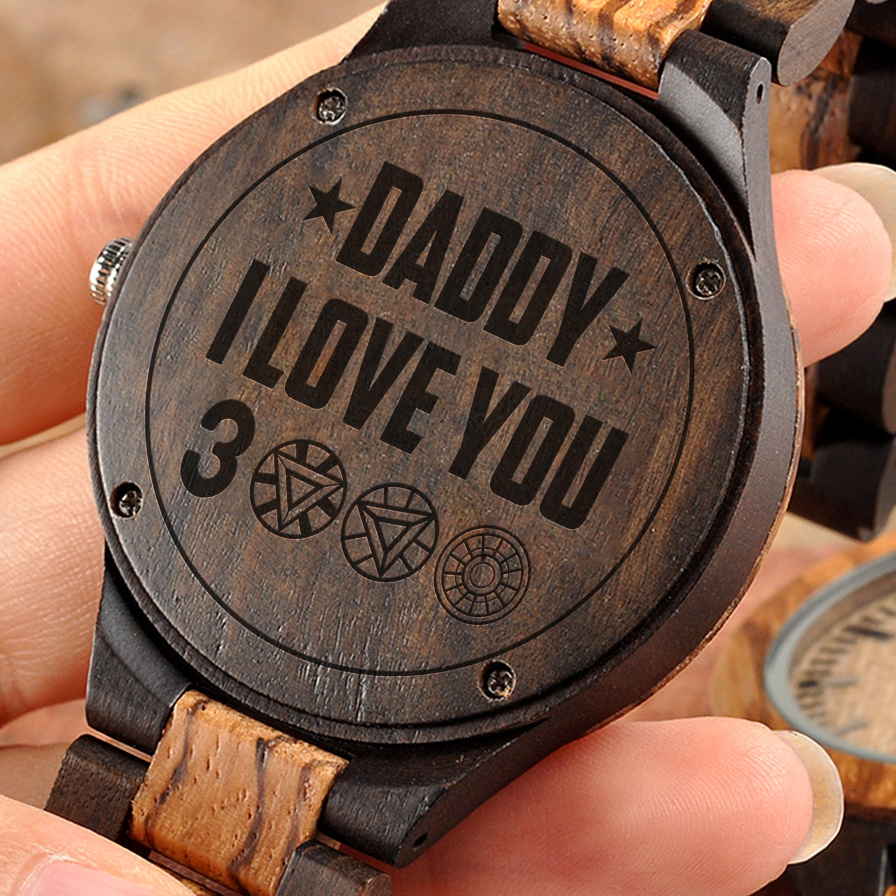 Daddy I Love You 3000 - Wooden Watch