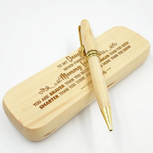 Mom to Daughter - Mommy Loves You - Engraved Wood Pen Case
