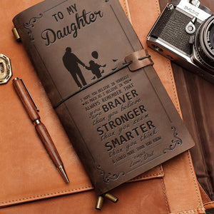 Dad To Daughter - You Are Loved More Than You Know - Leather Journal