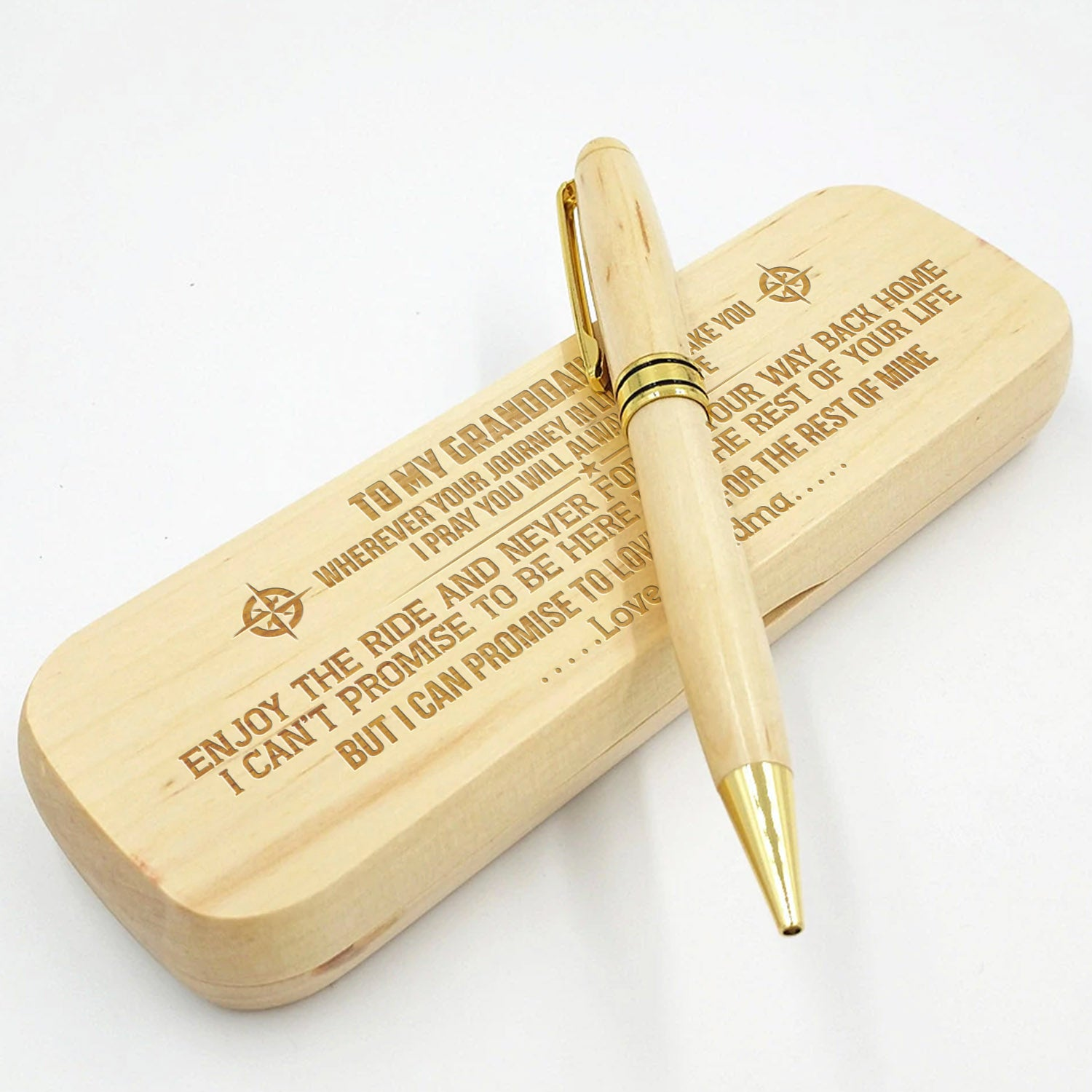 Grandma to Granddaughter - Enjoy The Ride - Engraved Wood Pen Case
