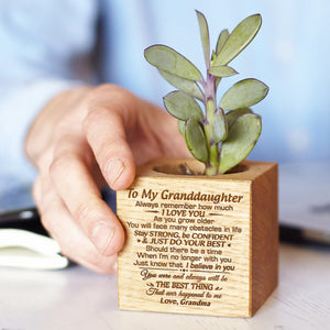 Grandma To Granddaughter - Just Do Your Best - Engraved Plant Pot