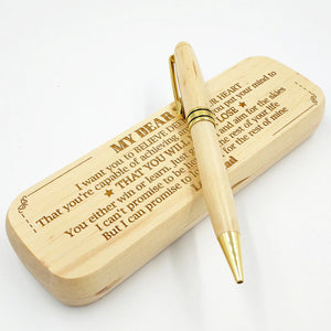 Dad to Son - You'll Never Lose - Engraved Wood Pen Case