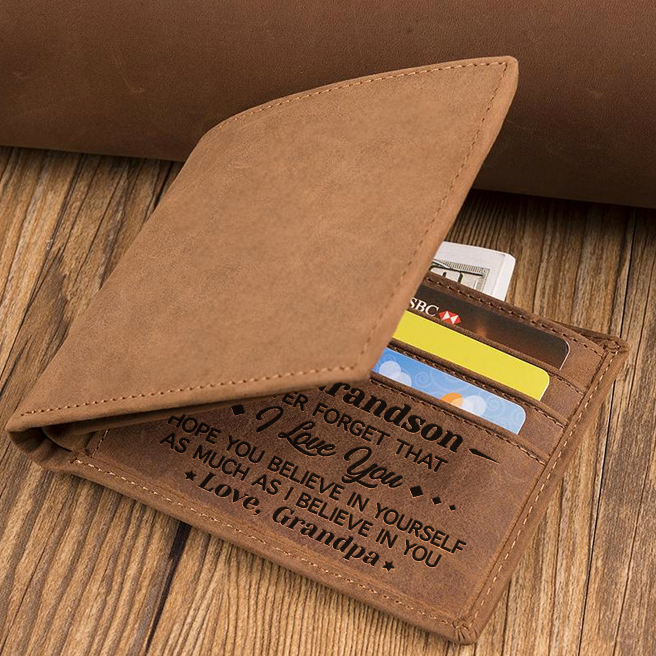 Grandpa To Grandson - Never Forget That I Love You - Bifold Wallet