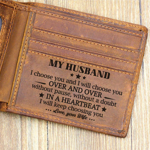 to my husband i will choose you over and over bifold wallet