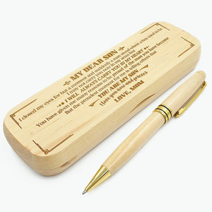 Mom to Son - I Love You Now And Forever - Engraved Wood Pen Case