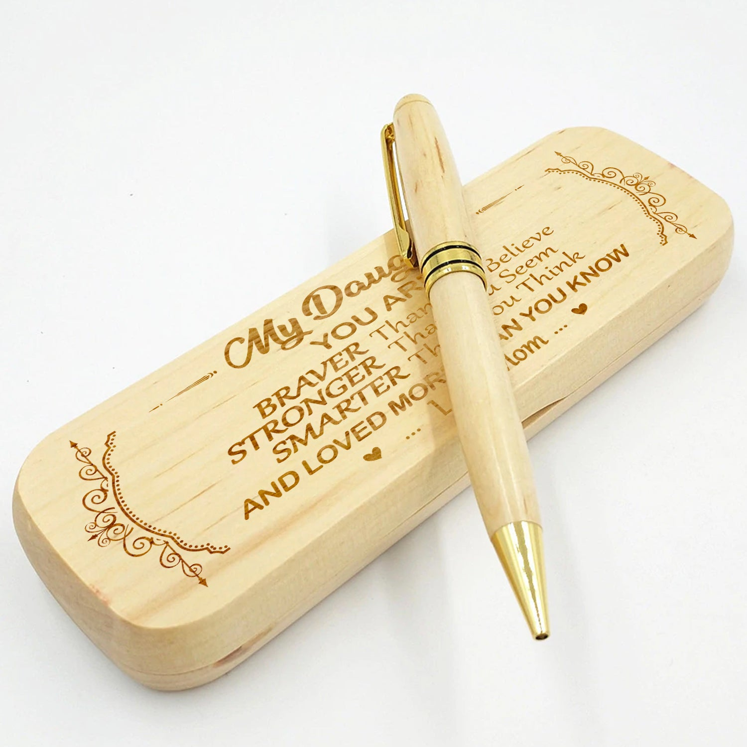 Mom to Daughter - Loved More Than You Know - Engraved Wood Pen Case