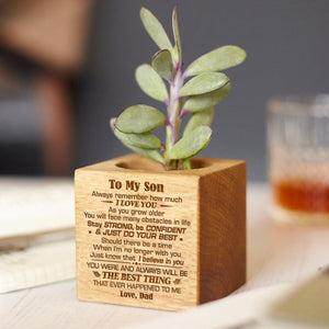 Dad To Son - Just Do Your Best - Engraved Plant Pot