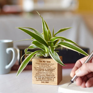 Mom To Son - Just Do Your Best - Engraved Plant Pot