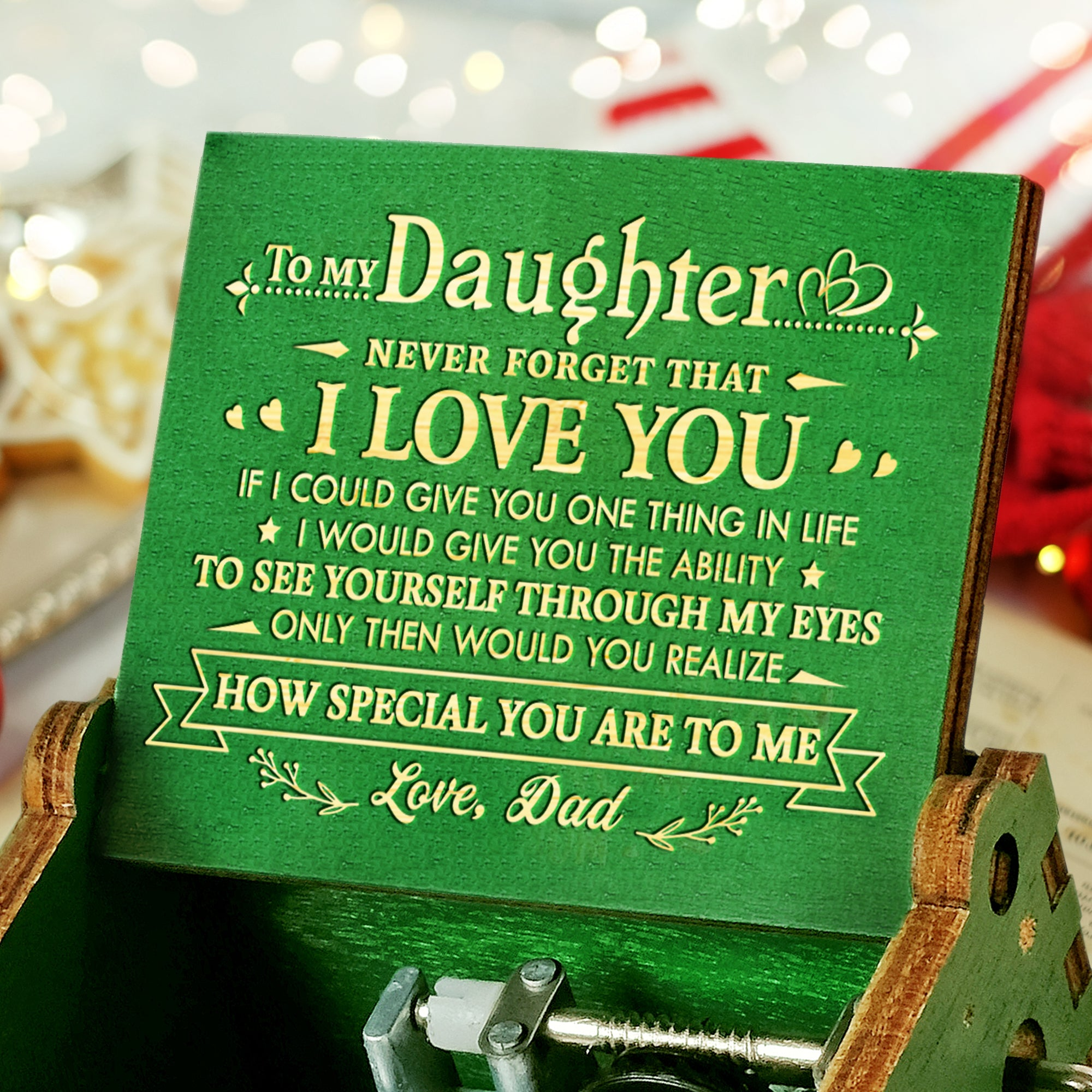 Dad To Daughter - Braver, Stronger, Smarter  - Engraved Music Box