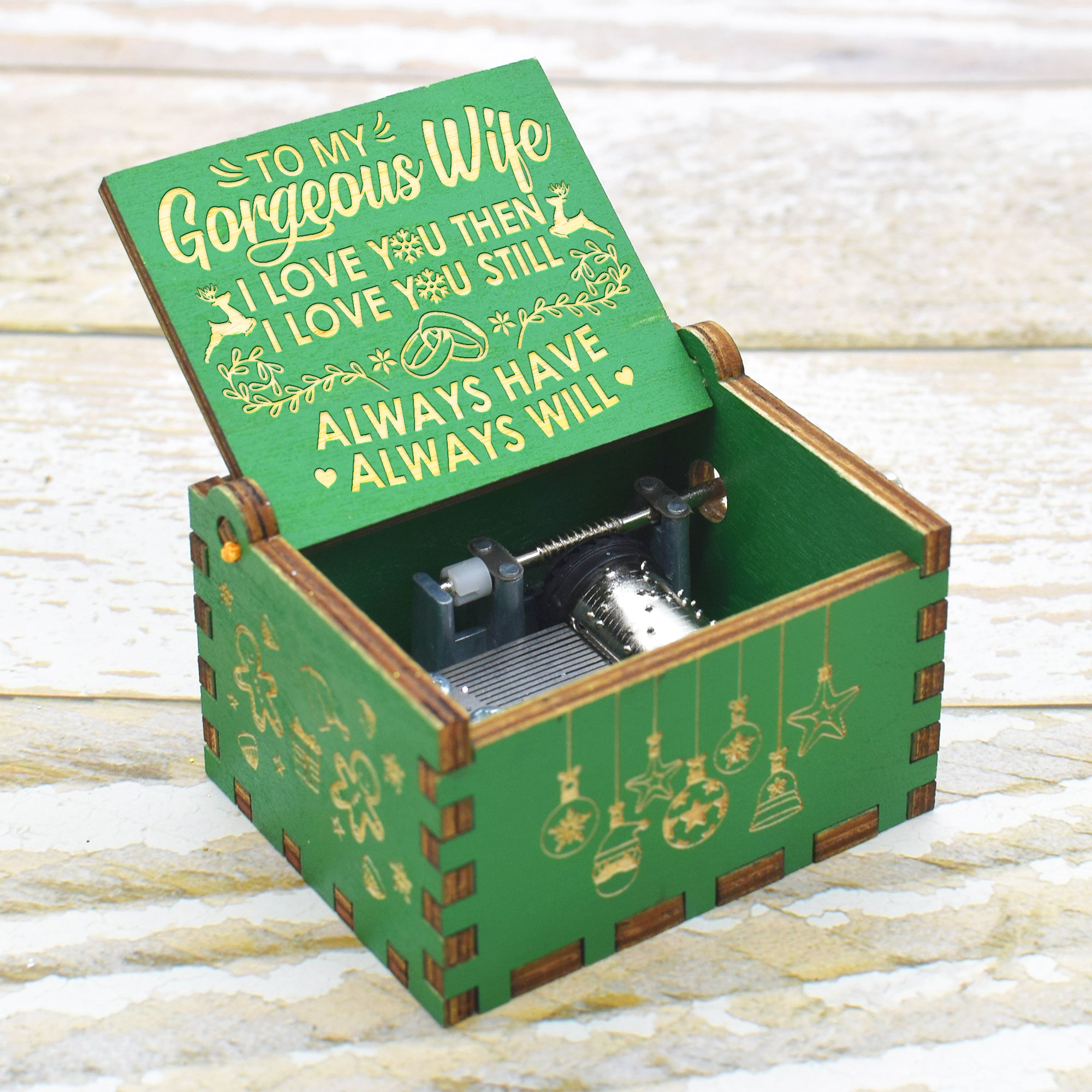 To My Wife - I Love You  - Engraved Music Box