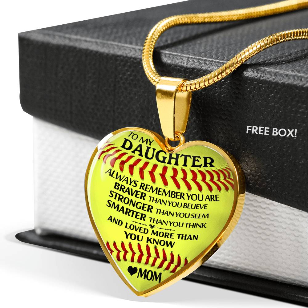 Mom To Daughter - Loved More Than You Know - Softball Heart Necklace