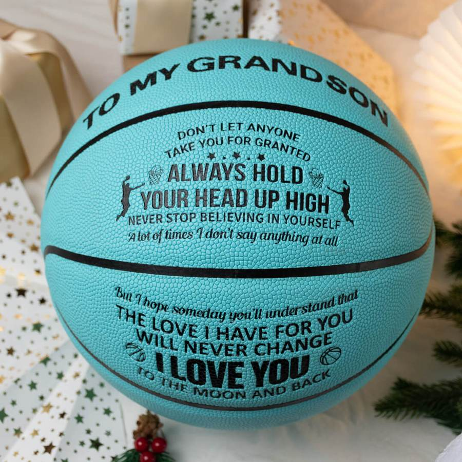 To My Grandson - I Love You To The Moon And Back - Basketball Light Blue