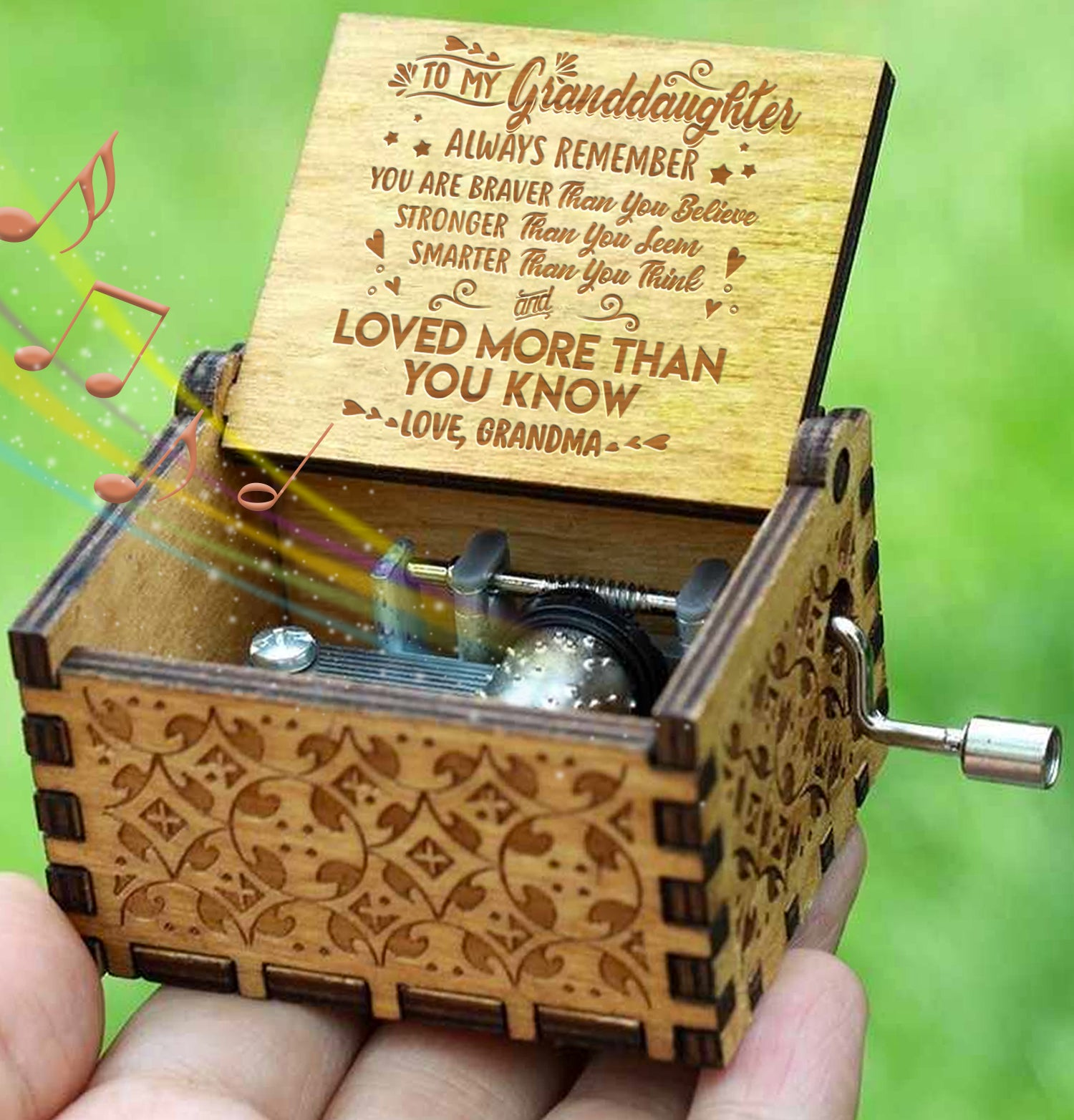 Grandma To Granddaughter - You Are Loved More Than You Know - Engraved Music Box