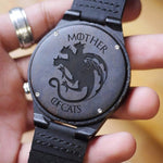 Mother Of Cats Engraved Wooden Watch