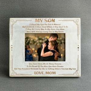 Mom to Son - I'll Always Carry You In My Heart - Wood Frame