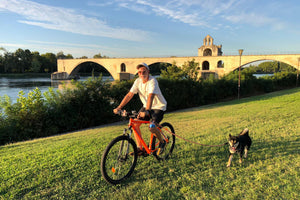 Garrett Leight California Optical's Global Sales Director riding a bike in the South of France.