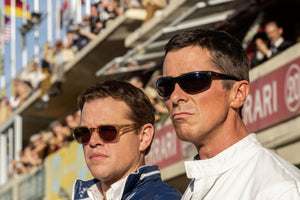 Matt Damon and Christian Bale wearing sunglasses in Ford v. Ferrari