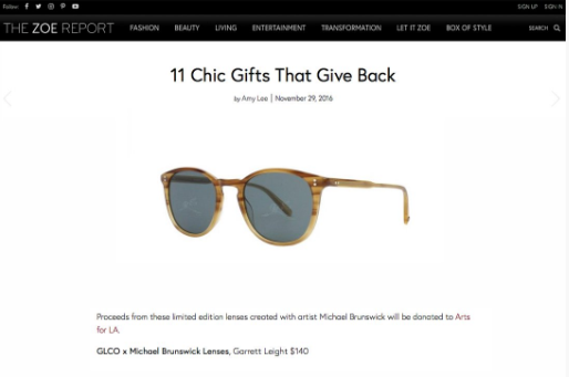 Garrett Leight GLCO x Michael Brunswick sunglasses featured on The Zoe Report