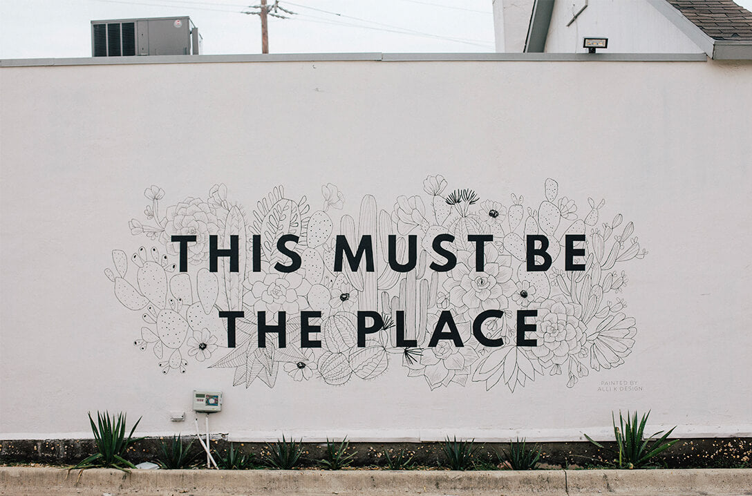 this must be the place mural on wall