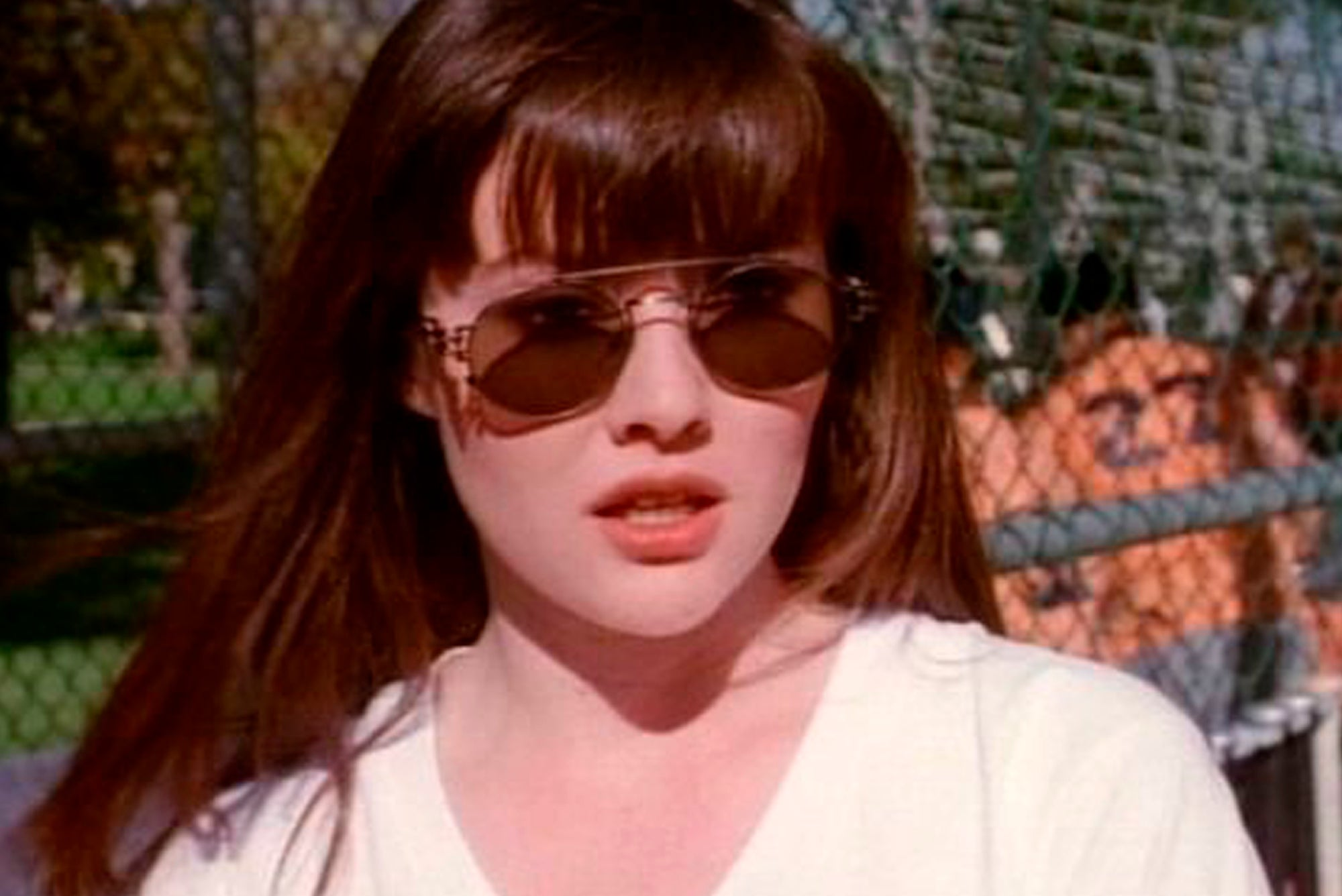 Shannon Doherty of Beverly Hills 90210 wearing sunglasses
