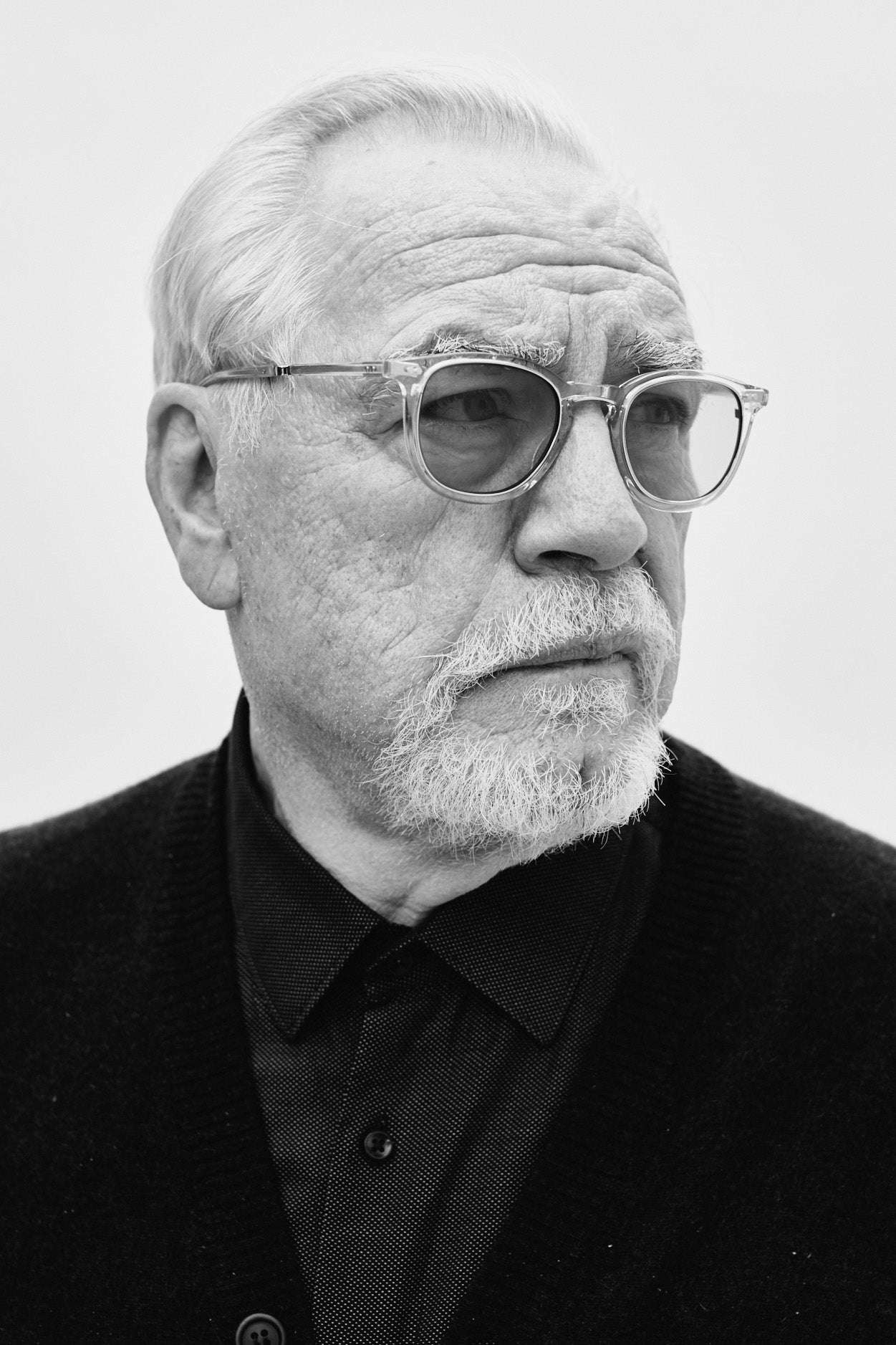 Succession's Brian Cox wears Mr. Leight Coopers frames from Garrett Leight California Optical.
