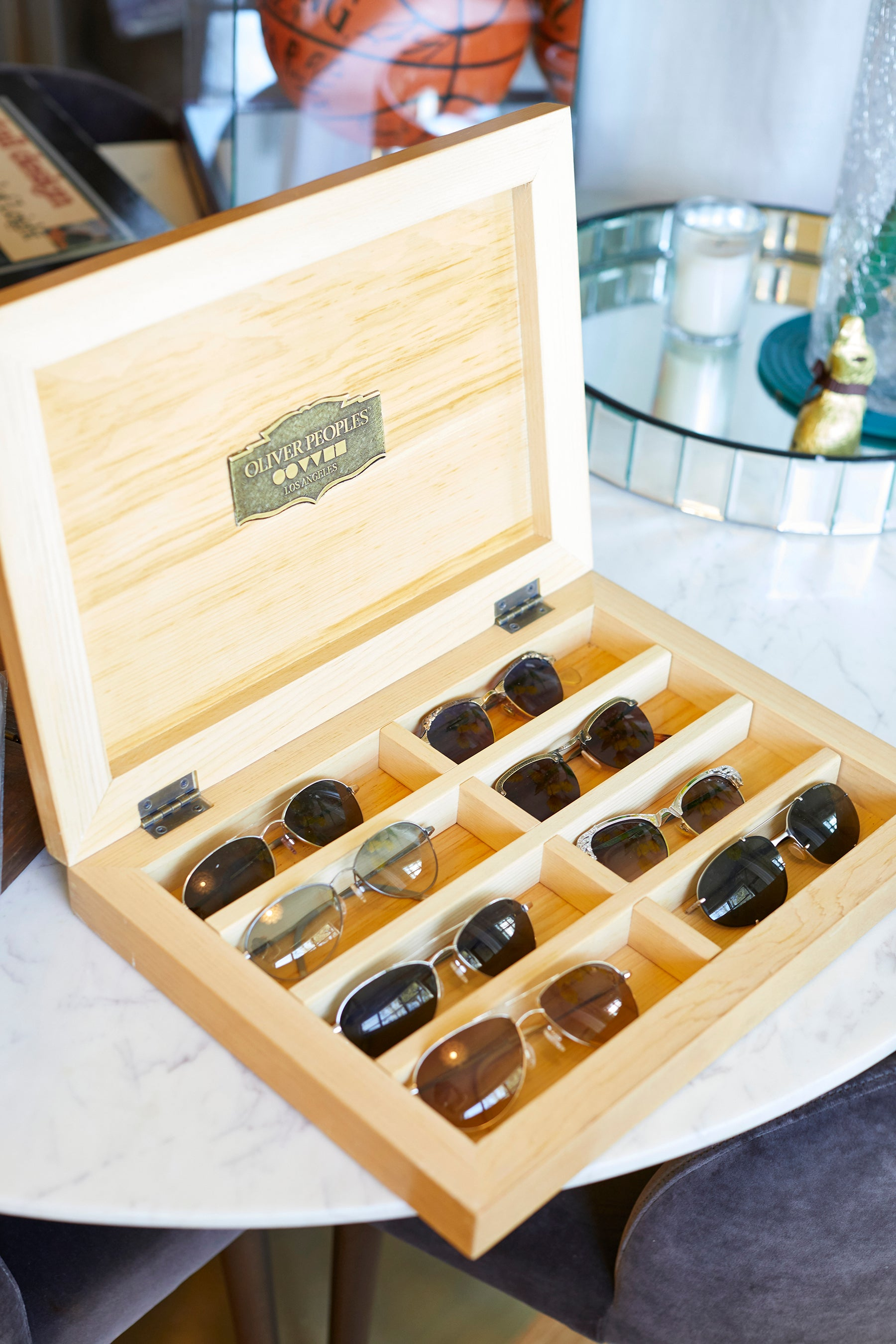 A collection of vintage Oliver Peoples eyewear