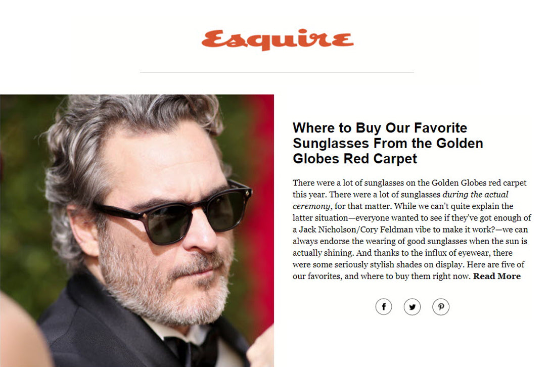 Joaquin Phoenix wears Garrett Leight Ace sunglasses on the Golden Globes red carpet featured on Esquire.com