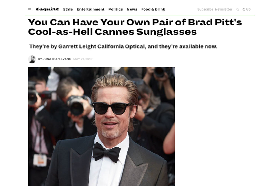 Brad Pitt wears Calabar sunglasses at Cannes on Esquire.com
