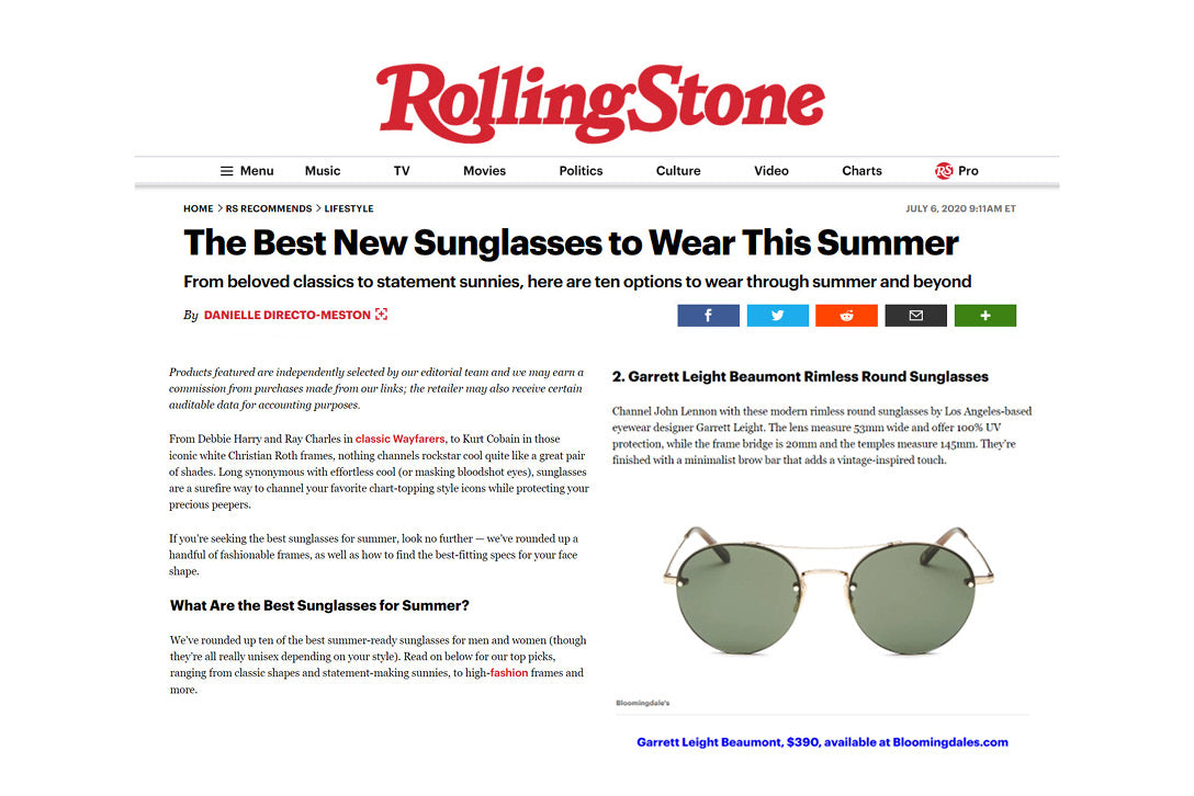 Garrett Leight California Optical beaumont rimless round sunglasses featured in Rolling Stone />