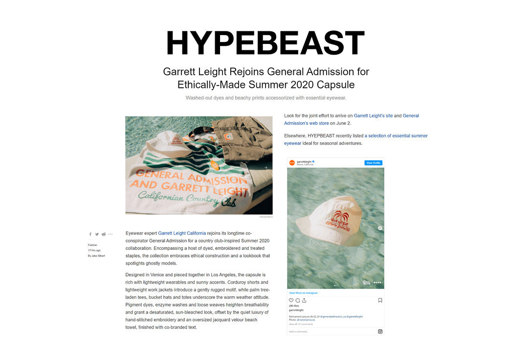 Garrett Leight California Optical General Admission collaboration featured in HYPEBEAST />