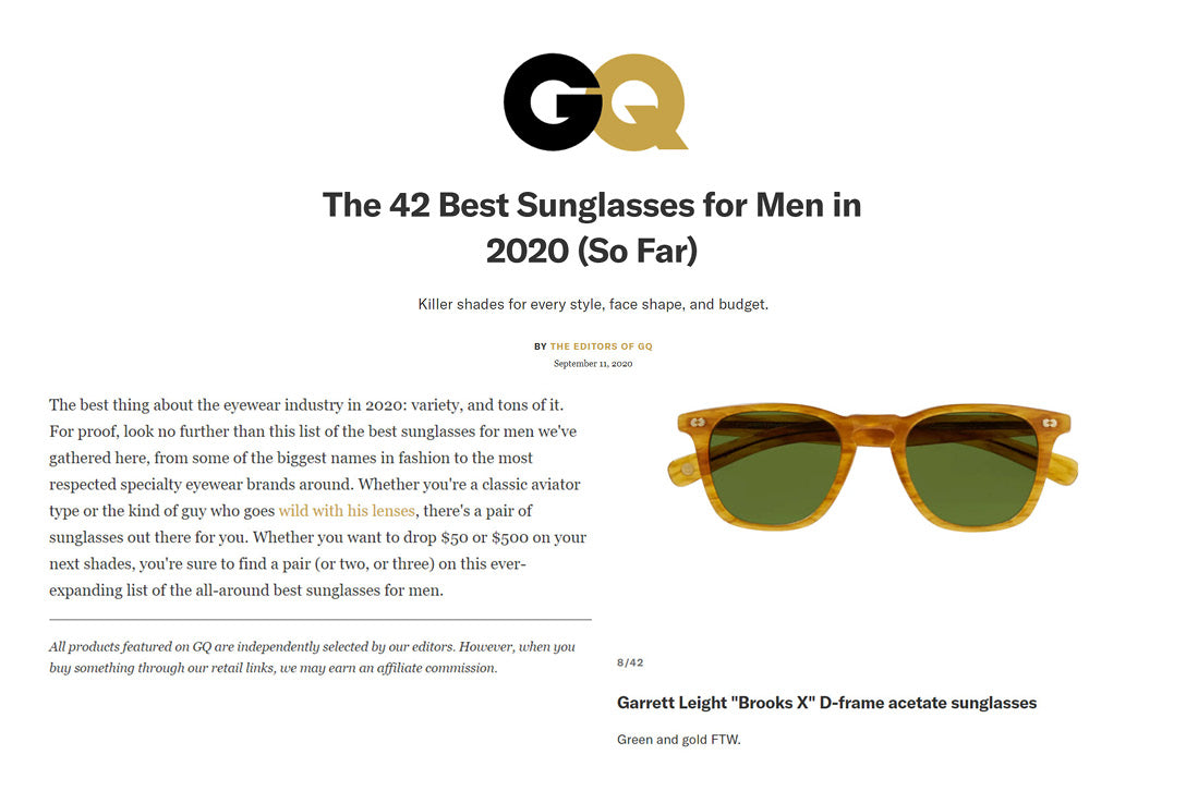 Garrett Leight California Optical brooks X green and gold sunglasses featured in GQ />