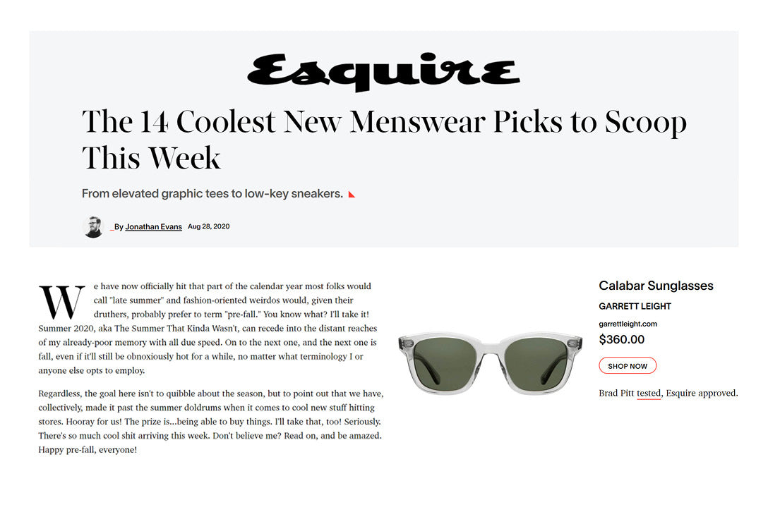 Garrett Leight California Optical calabar sunglasses featured in Esquire />