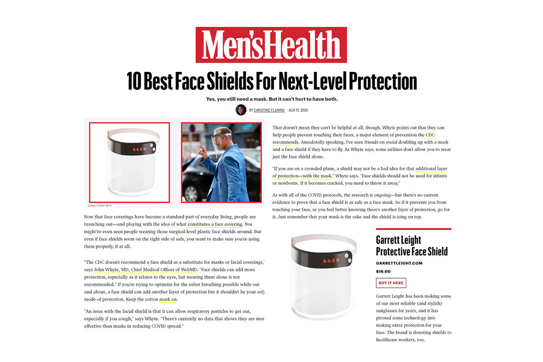 Garrett Leight California Optical protective face shield featured in Men's Health />