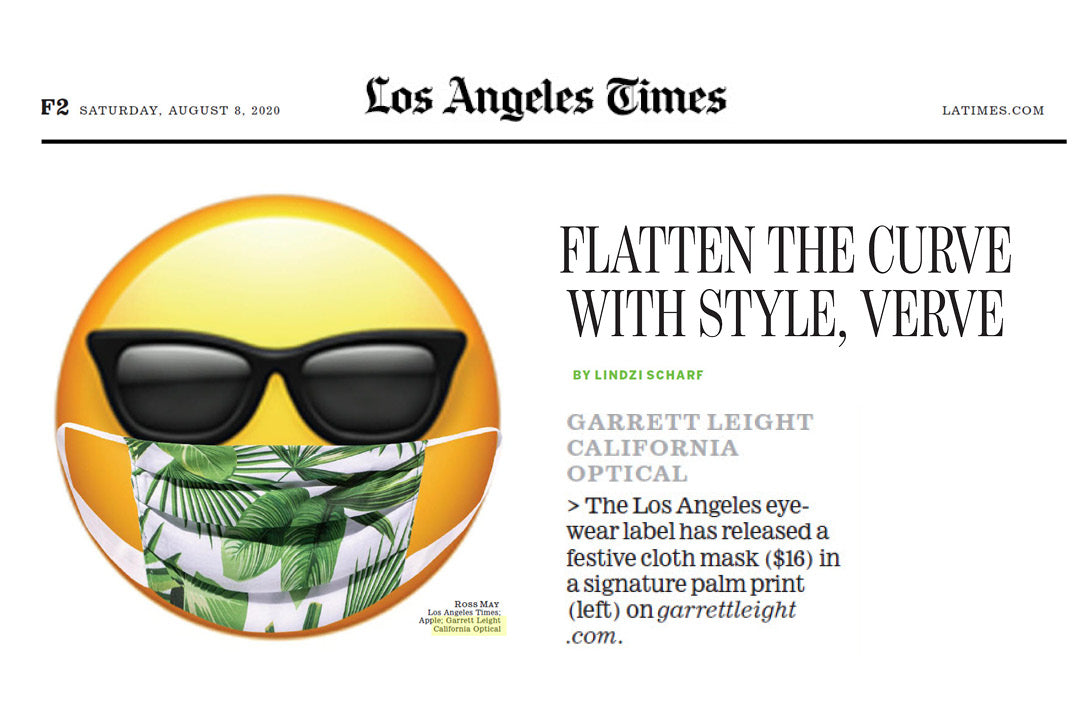 Garrett Leight California Optical signature palm print face mask featured in LA Times />