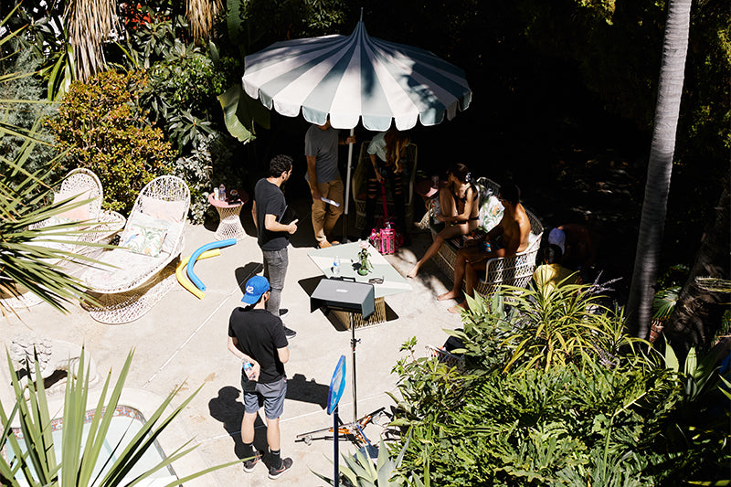 Film crew setting up to film the Pool video