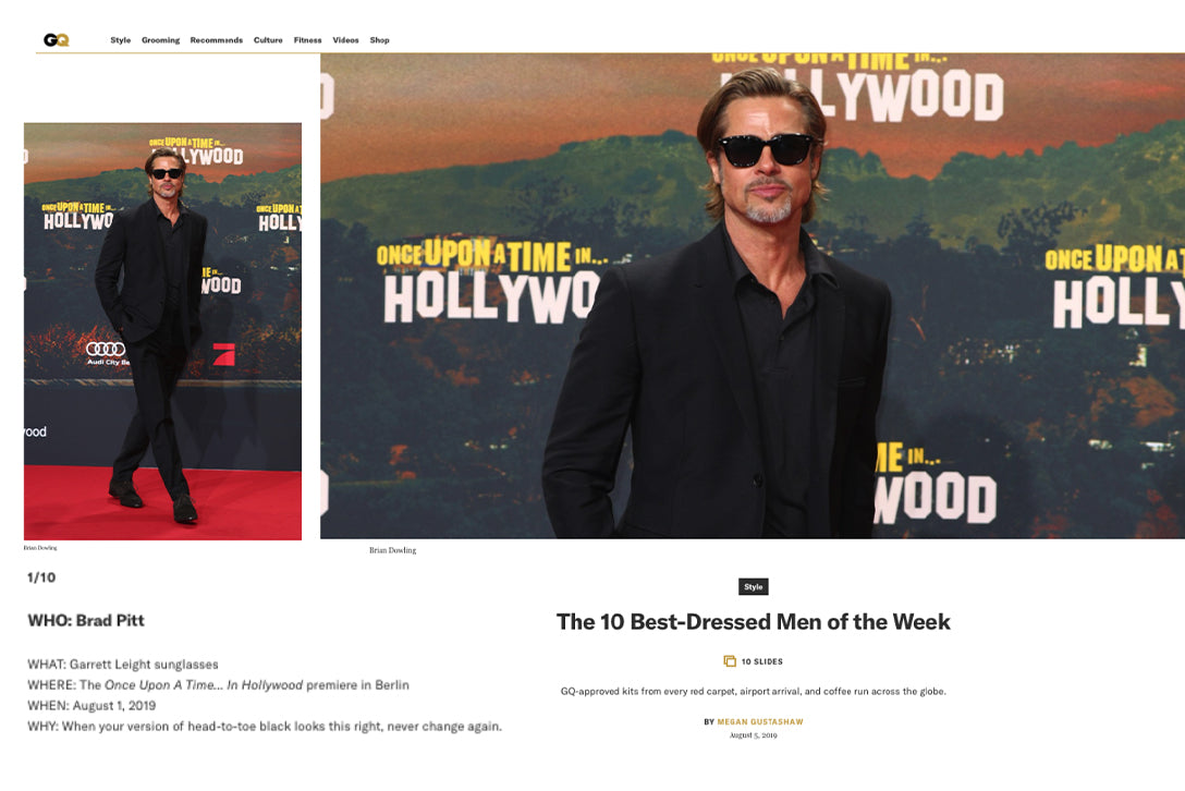 Brad Pitt wears Garrett Leight Calabar sunglasses at the premiere of Once Upon a Time in Hollywood featured on GQ