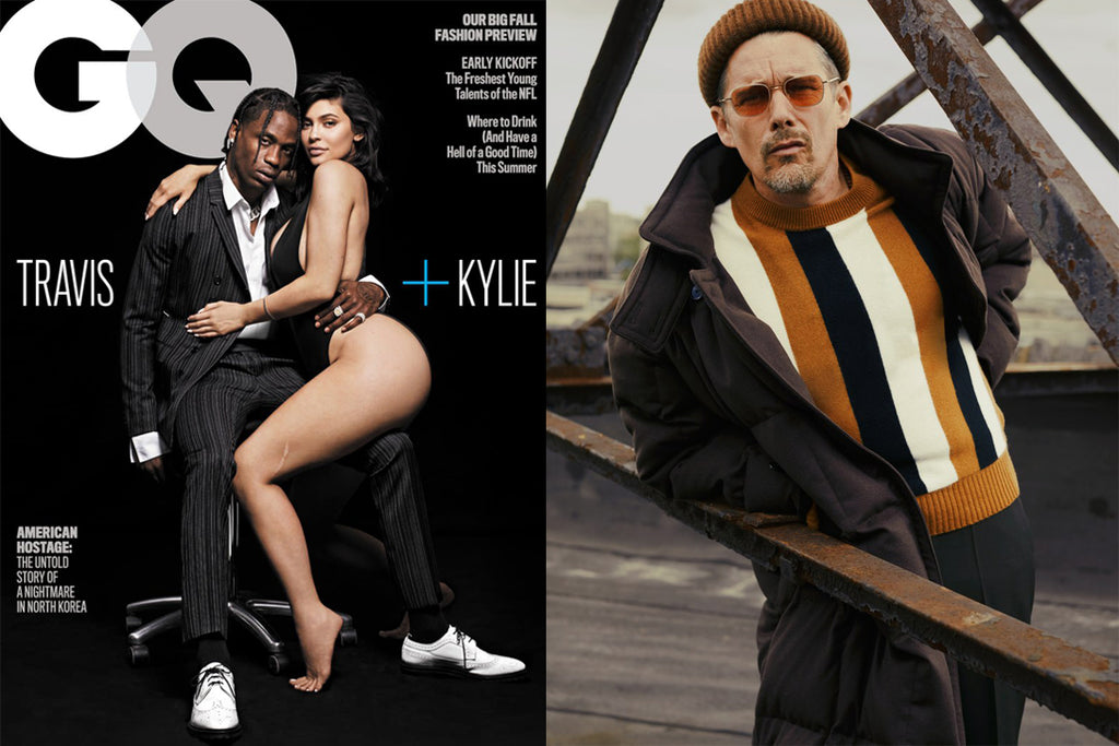 Ethan Hawke wears Garrett Leight sunglasses in GQ with Kylie Jenner and Travis Scott