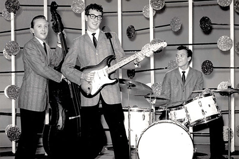 Buddy Holly wearing glasses