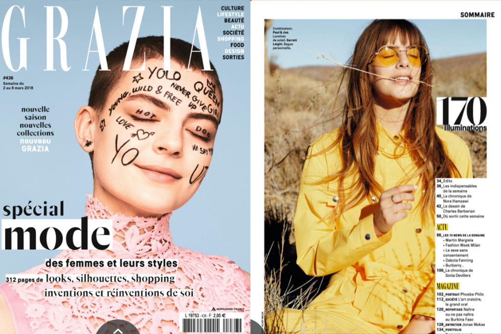 Garrett Leight sunglasses in Grazia Magazine