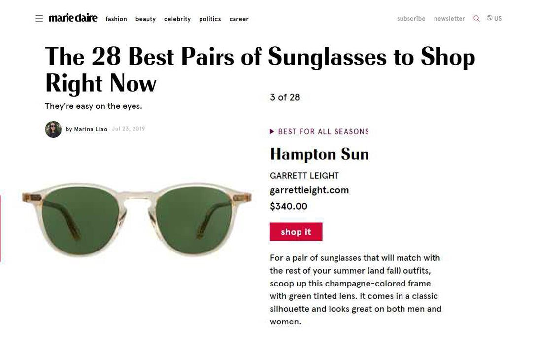 Garrett Leight Hampton sunglasses in Marie Claire