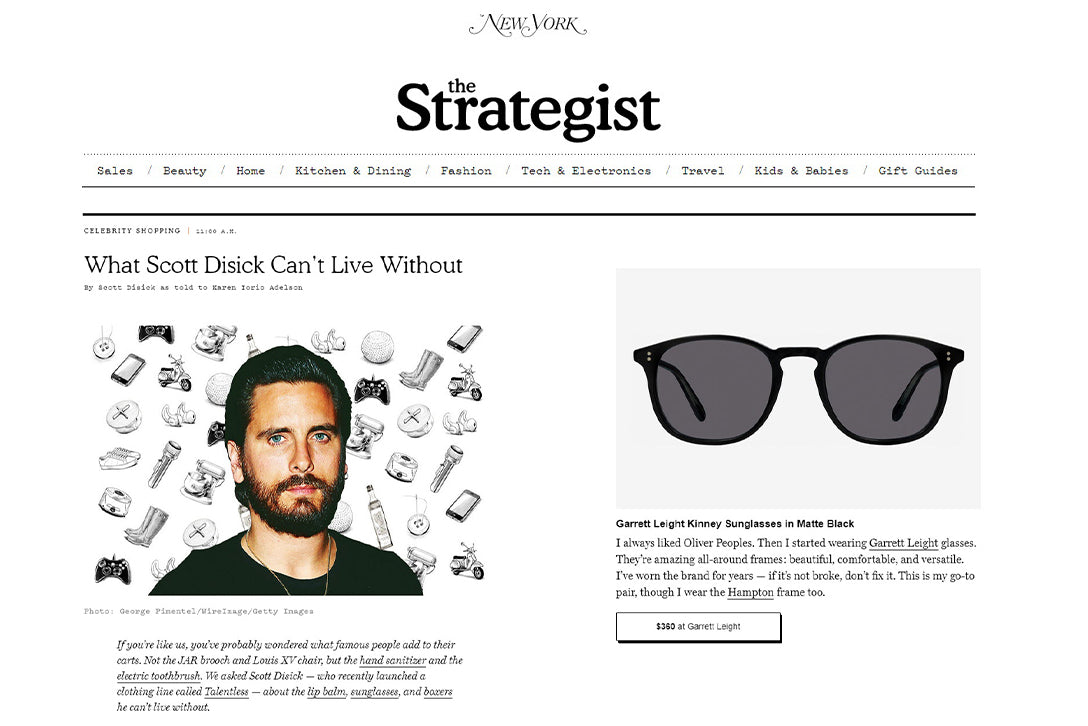 Scott Disick wearing Garrett Leight Kinney sunglasses in NY Mag