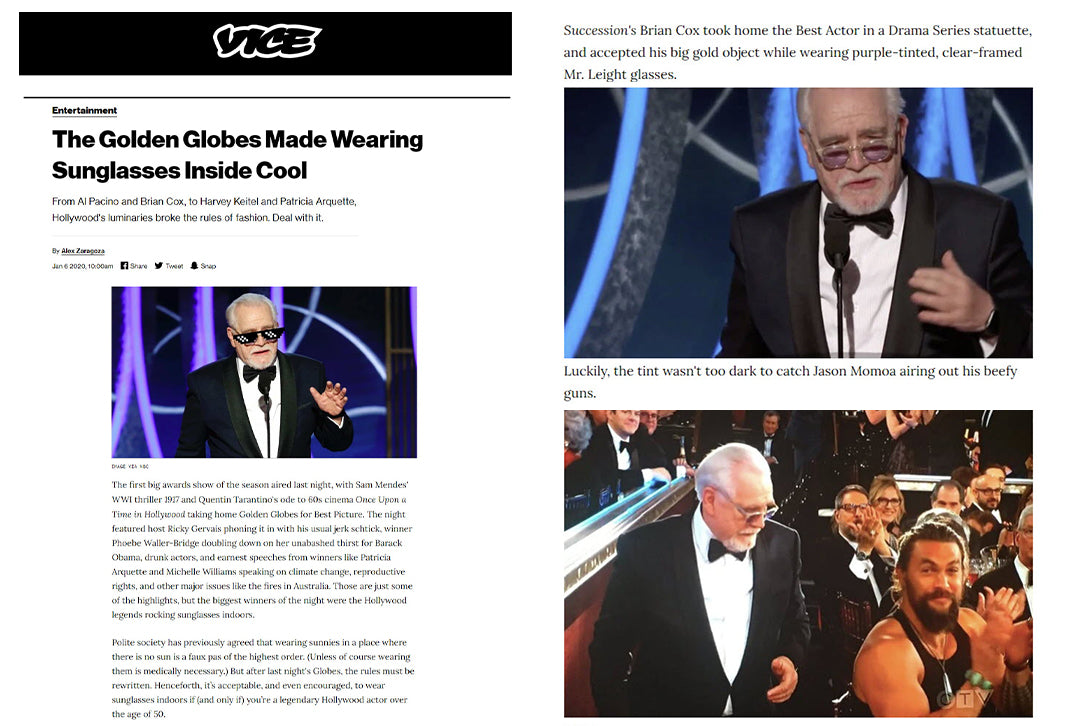 Brian Cox wearing Garrett Leight's Mr. Leight Coopers S sunglasses in Vice