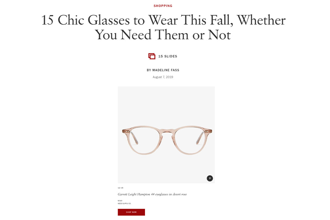 Garrett Leight Hampton eyeglasses featured on Vogue.com