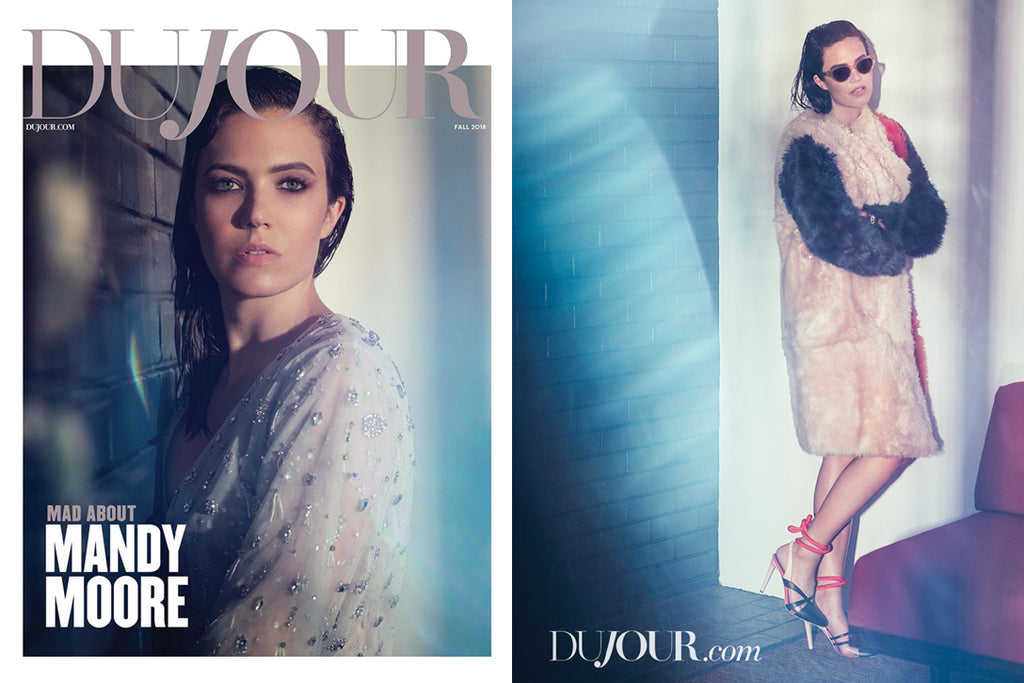Mandy Moore wears Garrett Leight sunglasses in DuJour Magazine
