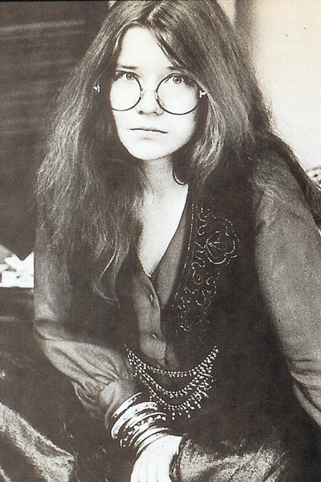 Janis Joplin wearing Round Sunglasses similar to GLCO Wilson M Glasses