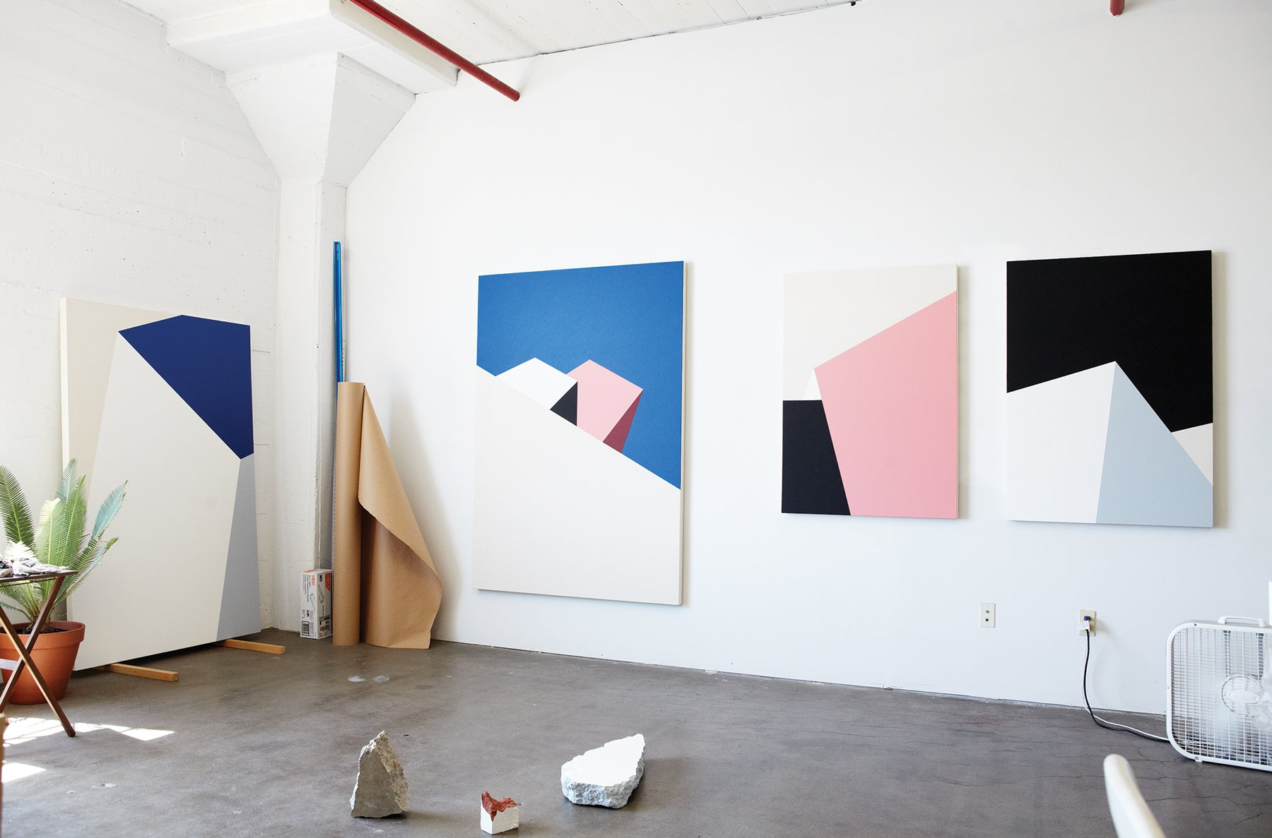 Tofer Chin studio paintings for Garrett Leight feature